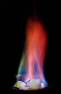 Ignited Natural Gas Hydrate. Click image for the largest view.