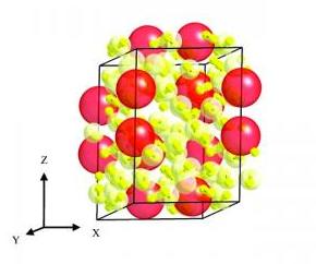 Схема полученного материала.  Красным показаны молекулы водорода, а желтым - атомы ксенона.