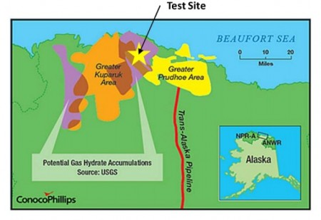 Methane Hydrate Test Site Map of US DOE, CononcoPhillips and JOGMNC Process Test. Click image for more info.