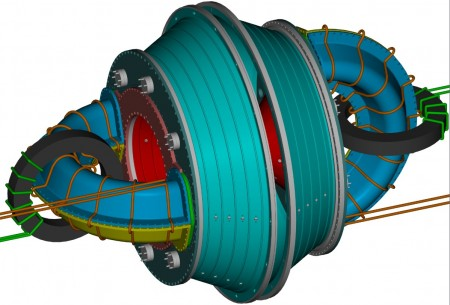 A computer drawing of the Imposed Dynamo Current Drive prototype,  Click image for more info.