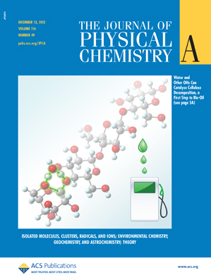 JPC A 2012.116 issue 49 Cover.  Water and other OHs can catalyze cellulose decomposition, a first step to bio-oil. Water can break a cellulose chain into fragments, acting catalytically through pericyclic reactions. Such reactions can help explain how thermal pyrolysis converts lignocellulosic biomass into bio-oil.  Clink link above to read the study paper.