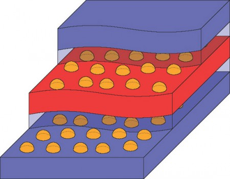 "Quantum Dot Heat Energy Harvester Simple Diagram. An array on nano energy harvesters in what the researchers call a ""swiss cheese sandwich"" arrangement.  Click image for the largest view."