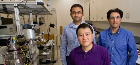 Prof. Shanhui Fan with Grad Students Aaswath Raman (L) and Eden Rephaeli. Click image for the largest view.