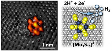 Moly Sulfide Nanocluster on a Graphite Surface. Click image for more info.