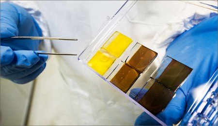 Perovskites Film Band Gap Is Adjusted By Composition.  Image Credit: Dennis Schroeder, NREL.