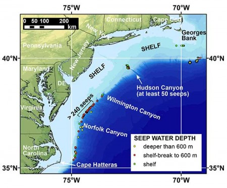 Methane Cold Seeps Atlantic Map with Depths.  Click image for the largest view.  See the press release page linked above for a link to a high resolution image.