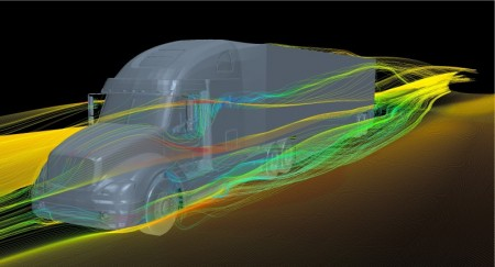 Air Flow Simulation Around a Semi Tractor Trailer at Highway Speed ...