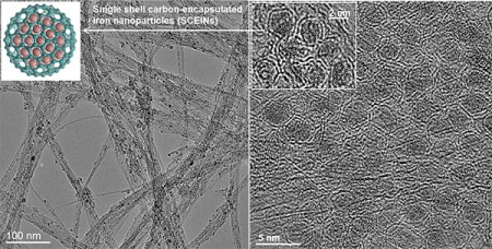 Carbon Encapsulated Iron Nanoparticle Catalyst.  These images shows single shell carbon-encapsulated iron nanoparticles. Image Credit: Aalto University.