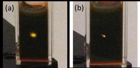 Upconverting Photons.  Photographs of photon upconversion in a cuvette containing cadmium selenide/rubrene mixture. The yellow spot is emission from the rubrene originating from (a) an unfocused continuous wave 800 nm laser with an intensity of 300 W/cm2. (b) a focused continuous wave 980 nm laser with an intensity of 2000 W/cm2. The photographs, taken with an iPhone 5, were not modified in any way. Image Credit: Zhiyuan Huang, UC Riverside.  Click image for the largest view.