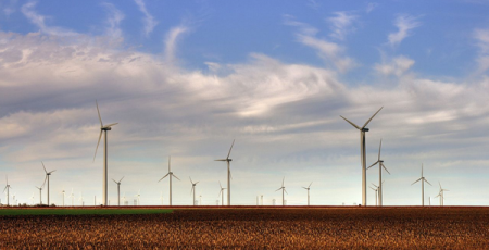 Smoky Hills Wind Farm as seen from Interstate 70 in Kansas. Click image for the largest view. Image Credit: Drenaline, via WikiCommons.
