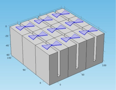 A rectenna metamaterial surface with bow-tie antennas for capture 10,000 to 100,000 times more thermal energy for conversion to DC electricity. Image Credit: Won Park/University of Colorado. Click image for the largest view.