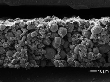 Electron microscopic image of the cathode of a Nickel-Mangan-Cobalt-battery (NMC).  Image Credit: Irmgard Buchberger / TUM. Click image for the largest view.