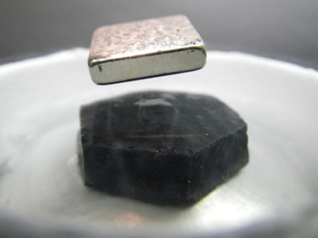 Levitation Using Superconductivity. Image Credit: University of Water loo. Click image for the largest view.