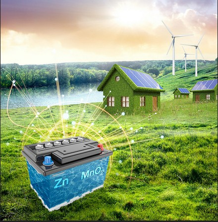 PNNL's improved aqueous zinc-manganese oxide battery offers a cost-effective, environmentally friendly alternative for storing renewable energy and supporting the power grid. Image Credit: PNNL. Click image for the largest view.