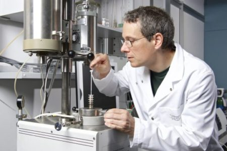 Ivo Alxneit, chemist at the Solar Technology Laboratory, Paul Scherrer Institute, preps for an experiment. Together with fellow researchers at the PSI and the ETH Zurich, he has developed a procedure that uses solar energy to produce fuel. Image Credit: Paul Scherrer Institute/Markus Fischer. Click image for the largest view.