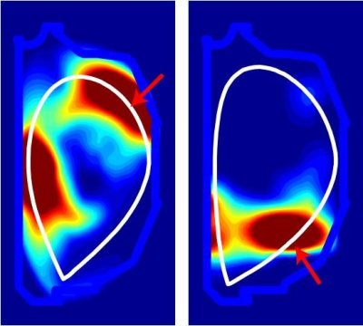 Comparison of experimentally measured radiated power emission patterns inside the DIII-D tokamak with upper gas injection (left) and lower gas injection (right). Arrows indicates gas valve locations, the white border represents the plasma boundary, and the light blue border shows the vacuum vessel. Red coloring indicates the strongest emission, blue weakest. Image Credit: General Atomics. Click image for the largest view.
