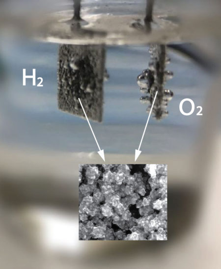 Gas bubbles form as researchers use a unique catalyst to convert water to hydrogen and oxygen. The inset image shows the catalytic materials at the nanoscale. Image Credit, Washington State University. Click image for the largest view.