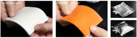 A sheet of the fluorenone and fluorenol hydrogel on a 5 g scale and the fluorenol sheet sealed up with a gas-barrier bag (after hydrogen releasing). Image Credit: Waseda University, Tokyo. Click image for the largest view.