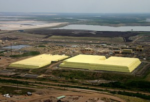 Oil Sands Sulfur Stacks. Click image for the largest view.