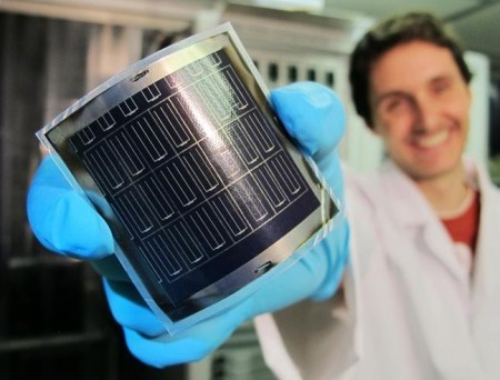 Empa's 20.4% Efficient Flexible Thin Film Solar Cell Sheet. Click image for the largest view.