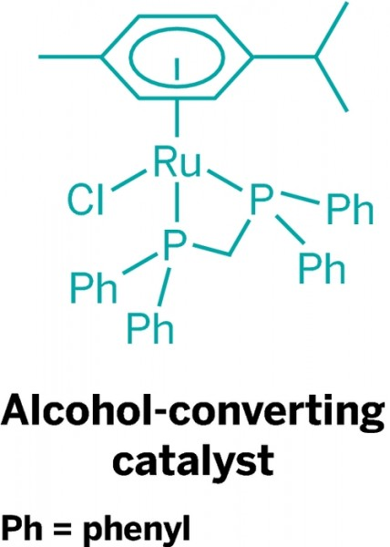 Ethanol to Butanol Converting Catalyst of homogeneous ruthenium diphosphine.  Image Credit: University of Bristol.  Click image for the largest view.