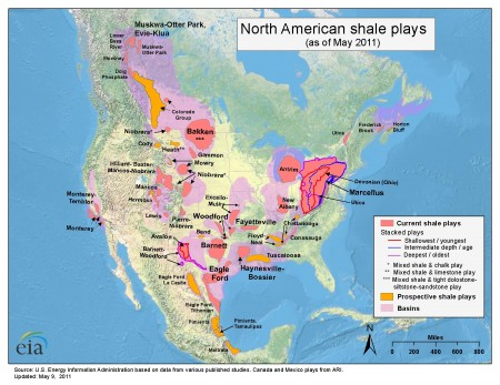 North American Natural Gas Shale Areas as of 2011.  Click image for the largest view.