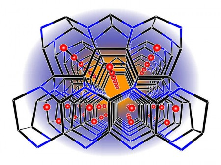 Tetrahedral Lithium Borosilicide  Alloy Holding Lithium Ions. Image credit: T. Fässler, M. Zeilinger, TUM. Click image for the largest view.