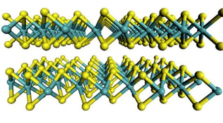 Molybdenum Disulfide in Two Dimensions.  The flat-sheet structure of the material molybdenum disulfide with molybdenum atoms are shown in teal and the sulfur atoms in yellow.  Click image for the largest view.