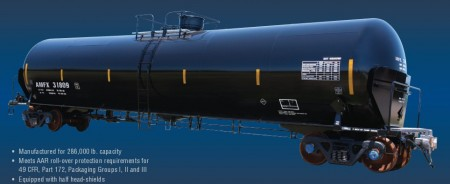 A Top Quality US Made Crude Oil Tank Car that holds about 32,000 gallons.  Image Credit: American Railcar Industries.