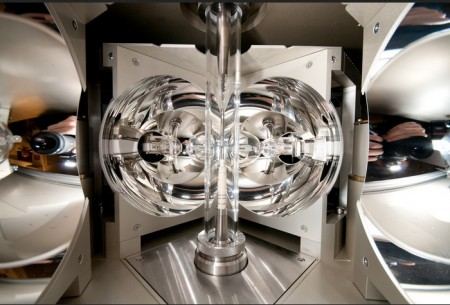 The mirror oven at TU Vienna where the novel thermoelectric clathrate material was created.  Image Credit: TU Vienna. Click image for the largest view.