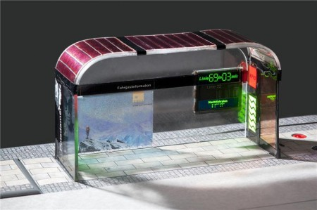 Organic light-emitting diodes (OLEDs) – here at the bus stop of the future – will soon come out of printing machines.  © Fraunhofer IAP. Image Credit: Till Budde.  Click image for the largest view.