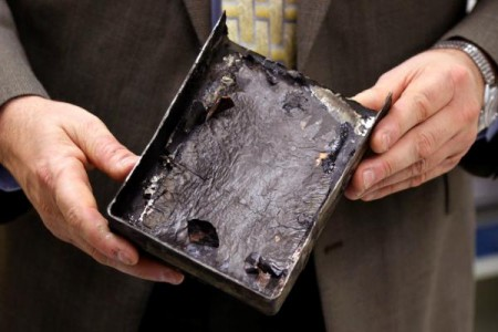 Fire Damaged Battery From the Japan Airlines Incident.  Click image for the largest view,