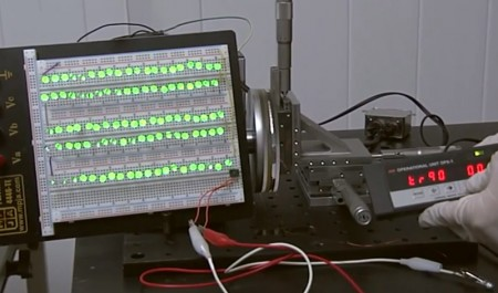 LEDs Driven with Triboelectric Effect at Georgia Tech.  Image Credit Georgia Tech. Click image for the largest view.