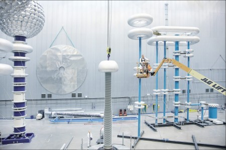High Voltage Test Facility at ABB.  Click image for the largest view.  Image Courtesy ABB, Zurich, Switzerland.