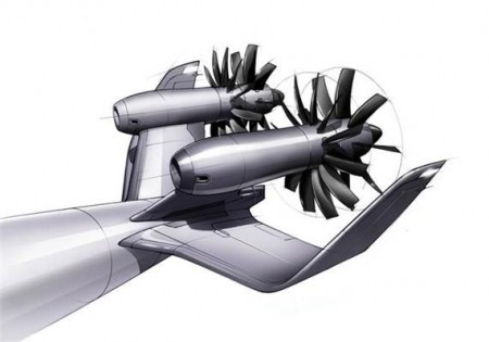 Dual Propeller Counter Rotating Open Rotor Design Illustration.  Click image for the largest view. Image Credit: Linda Larsson, Chalmers University of Technology.