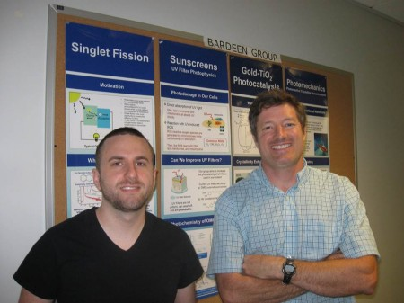 Singlet Fission Chemist Christopher Bardeen (right) and Grad Student Geoffrey Piland (left). They are two of the four coauthors of the perspective article. Image credit: Barden Lab, UC Riverside. Click image for the largest view.