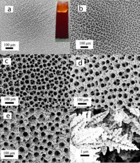 Catalytic Copper Foam at Increasing Magnification.  Image Credit: Palmore lab/Brown University.  Click image for the largest view.