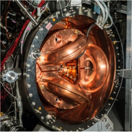 Experimental Fusion Reactor at U of Washington. The UW's current fusion experiment, HIT-SI3. It is about one-tenth the size of the power-producing dynomak concept. Image Credit: University of Washington.