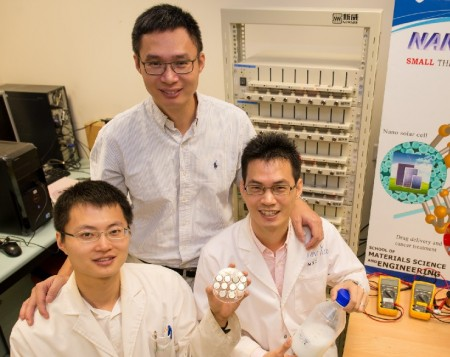 NTU Professor Chen and team in front of battery test rig.  Click image for the largest view.  Image Courtesy: NYU Singapore.