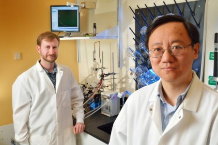 Professor Zhang (right) and doctoral graduate Joe Rollin of Virginia Tech.  Click image for the largest view.