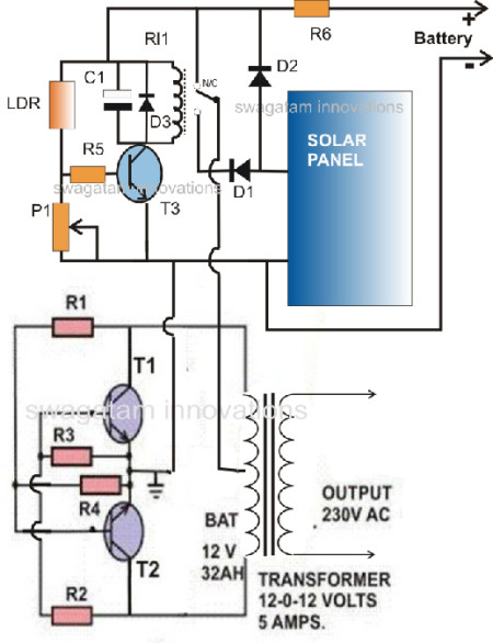 Simple Solar Inverter Circuit for Science Projects.  Click image for the largest view.   Image Credit: Wikipedia