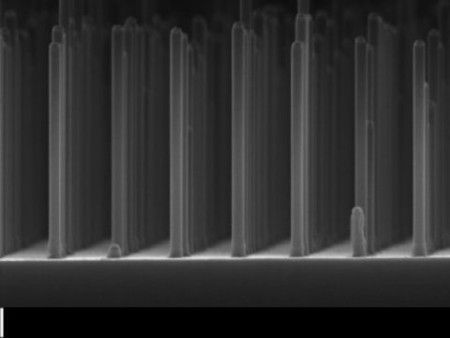 Gallium Phosphide Nanowire Array Produces Hydrogen.  An array of nanowires gallium phosphide made with an electron microscope. Image Credit: Eindhoven University of Technology. Click image for the largest view.