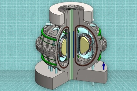 A cutaway view of the proposed ARC reactor. Thanks to powerful new magnet technology, the much smaller, less-expensive ARC reactor would deliver the same power output as a much larger reactor.  Image Credit:  The MIT ARC team.  Click image for the largest view.