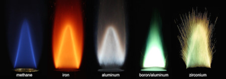 Stabilized flames of four different metal powders combusting with air in a comparison to a methane-air flame. Image Credit: Alternative Fuels Laboratory/McGill University. Click image for the largest view.