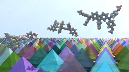 Graphical image of FDT Molecules On A Surface of Perovskite Crystals. Image Credit: Sven M. Hein. Click image for the largest view.