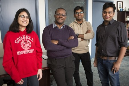Professor Lynden Archer, second from left, with team members graduate students from left, Akanksha Agrawal, Rahul Mangal and Snehashis Choudhury. Image Credit: Cornell University. Click image for the largest view.