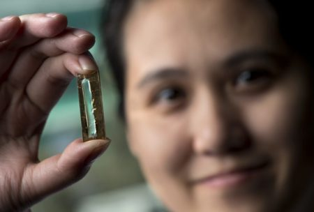 UCI chemist Reginald Penner and doctoral candidate Mya Le Thai (shown) have developed a nanowire-based technology that allows lithium-ion batteries to be recharged hundreds of thousands of times. Image Credit: Steve Zylius at UCI. Click image for the largest view.