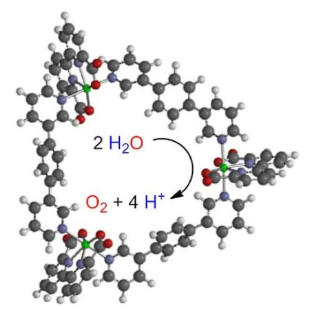 Three ruthenium atoms linked via specially shaped organic bonds make sure that the photosystem works more efficiently than its predecessors. Image Credit: Valentin Kunz & Marcus Schulze. Click image for the largest view.