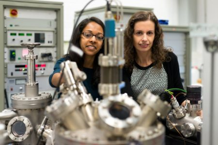 Researching new catalysts that convert carbon dioxide: Hemma Mistry (on the left) and Beatriz Roldan Cuenya. Image Credit: Kramer @ Ruhr-Universitaet-Bochum ©. Click image for the largest view.