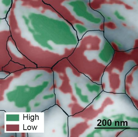 This atomic force microscopy image of the grainy surface of a perovskite solar cell reveals a new path to much greater efficiency. Individual grains are outlined in black, low-performing facets are red, and high-performing facets are green. A big jump in efficiency could possibly be obtained if the material can be grown so that more high-performing facets develop. Image Credit: Berkeley Lab. Click image for the largest view.